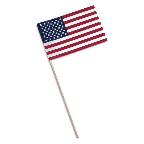 "Super Tough US Stick flag 8"" x 12"" Economy - Wood Stick - No Spear Tip"
