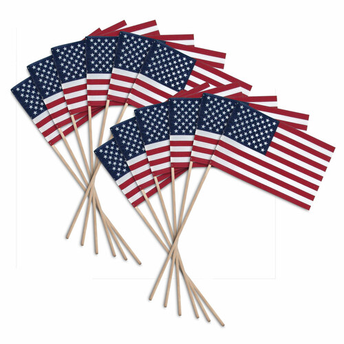 "Super Tough US Stick flag 8"" x 12"" Economy - Wood Stick - No Spear Tip - 12 PK"