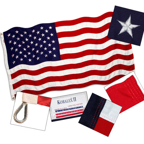 American Flag 8ft x 12ft Valley Forge Koralex II 2-Ply Sewn Polyester