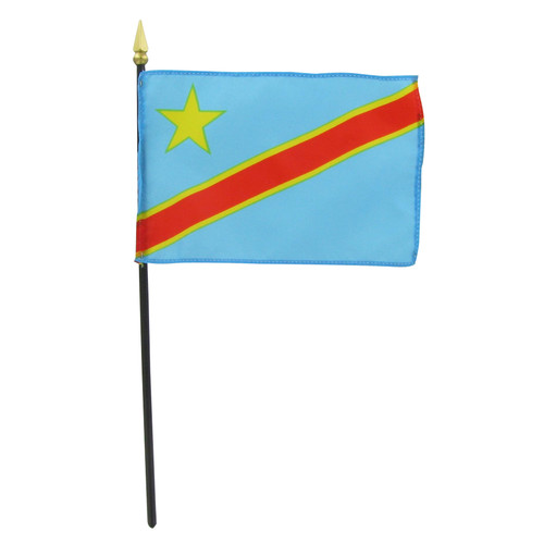 "Congo Dem Rep 4"" x 6"" Stick Flag"