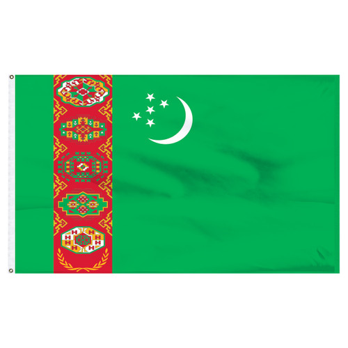Turkmenistan 3ft x 5ft Nylon Flag