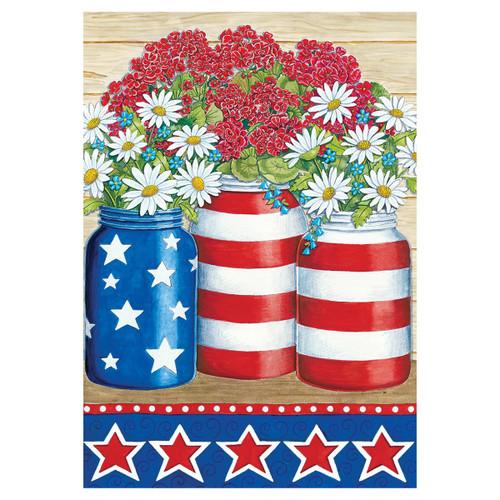 Patriotic Garden Flag - Geraniums & Daisies