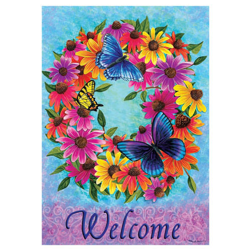 Welcome Garden Flag - Butterfly Wreath
