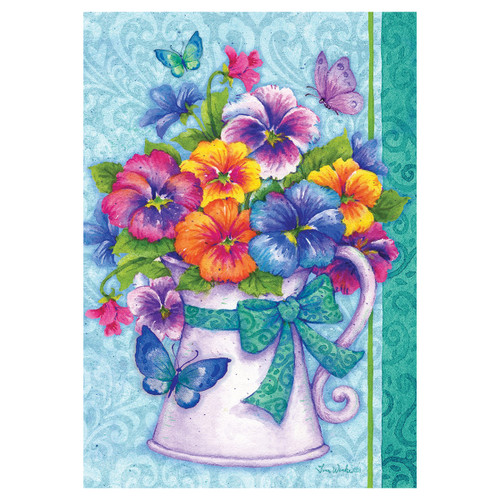 Spring Garden Flag - Pansy Pitcher
