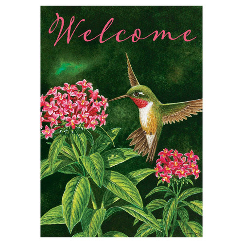 Welcome Garden Flag - Hummingbird