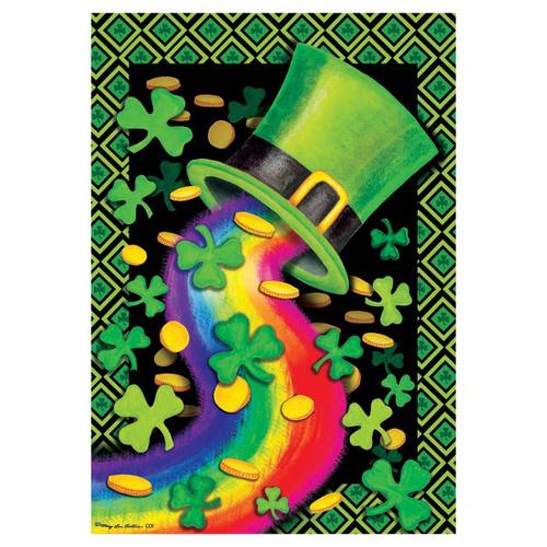 St. Patrick's Day Garden Flag - Rainbow Hat