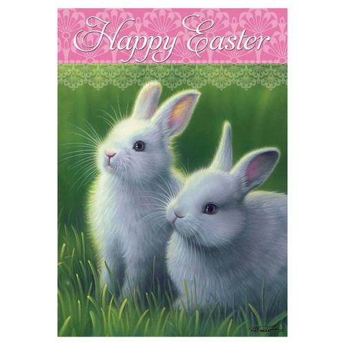 Easter Garden Flag - White Bunnies
