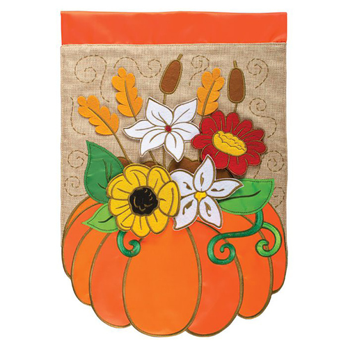 Fall Applique Garden Flag - Pumpkin Floral