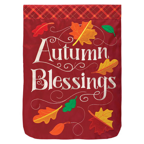 Fall Applique Garden Flag - Autumn Blessings
