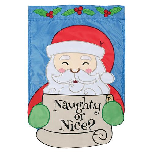 Christmas Applique Garden Flag - Naughty or Nice