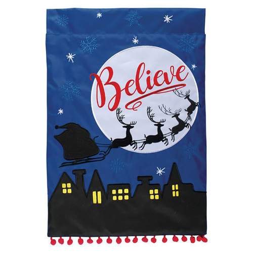 Christmas Applique Garden Flag - Santa Silhouette