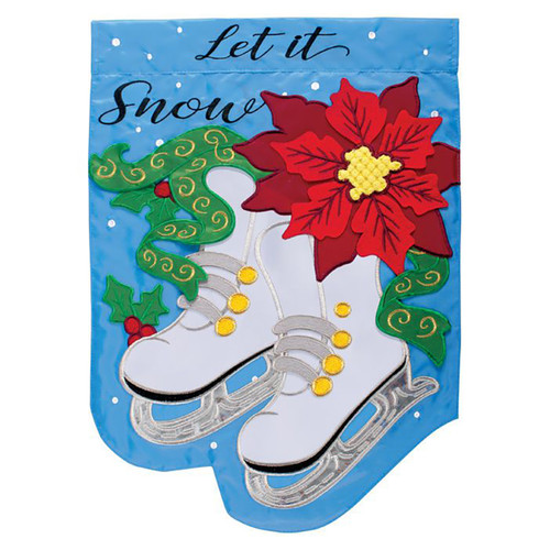 Christmas Applique Garden Flag - Poinsettia Skates