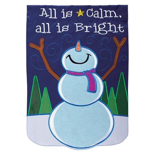 Winter Applique Garden Flag - All is Calm Snowman