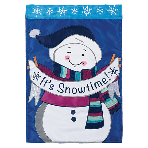 Winter Applique Garden Flag - Its Snowtime