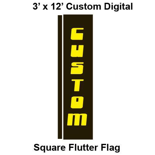 Custom Digital 3' x 12' Square Flutter Flag