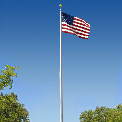 Super Tough Commercial Grade Sectional 25 ft. Flagpole - Clear Anodized