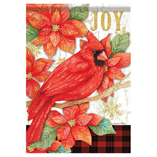 Christmas Garden Flag - Joy Poinsettia