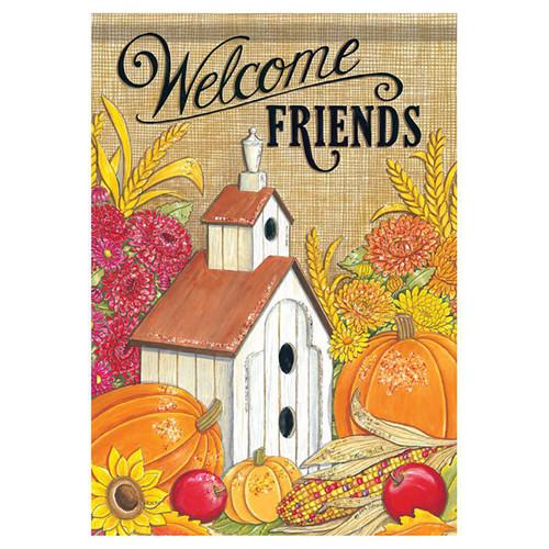 Fall Garden Flag - Welcome Friends Birdhouse