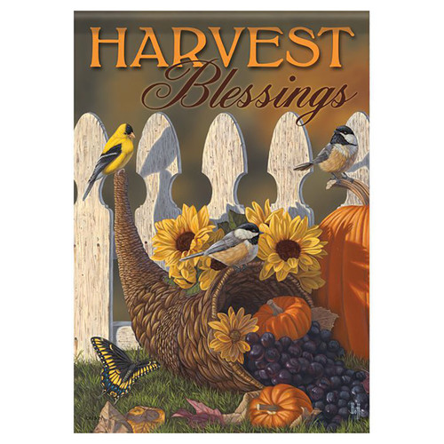 Thanksgiving Garden Flag - Autumn Harvest Cornucopia