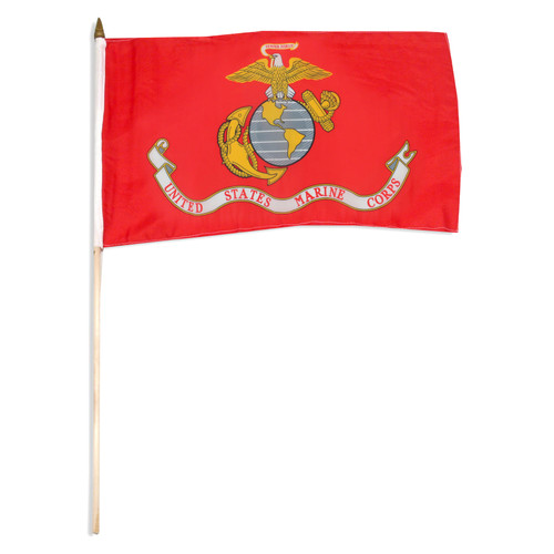 "Marine Corps Flag 12"" x 18"" mounted on 24"" wooden stick"