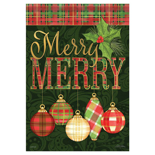 Christmas Garden Flag - Merry Merry Ornaments