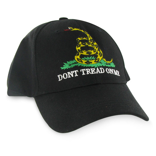 Gadsden Flag Baseball Cap - Black - Dont Tread On Me