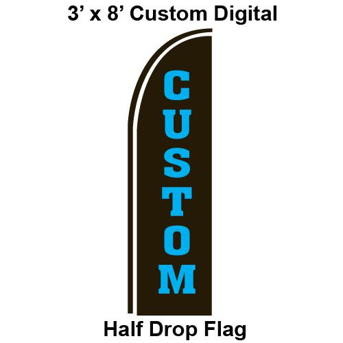 Custom Made Digital 3' x 8' Half Drop Flag - Swooper Flag