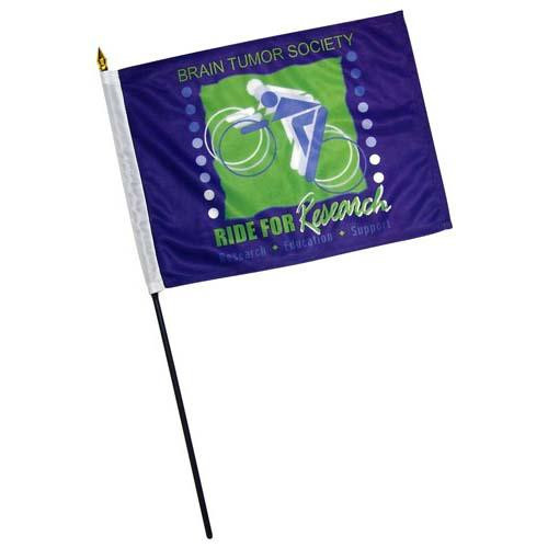 Custom 12in x 18in Thermal Printed Stick Flags