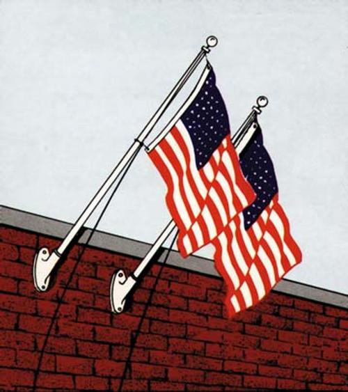 10ft Aluminum heavy duty wall mount kit : USA 3 x 5 Sewn Nylon Flag
