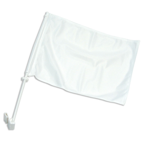 Solid White Car Flag