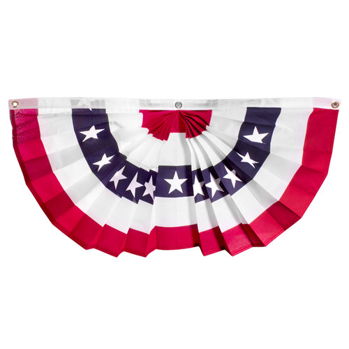 """US Stars and Stripes 18"""" x 36"""" Printed Pleated Fan - US Made"""
