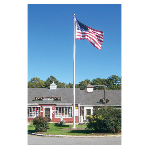 20ft Residential Flagpole One Piece Tapered White Fiberglass