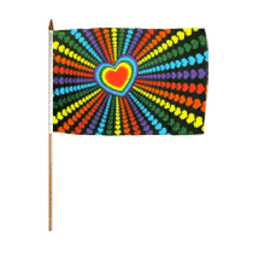 Rainbow Love Flag 12in x 18in Stick Flag