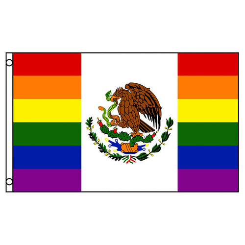 Mexico Rainbow Flag 3ft x 5ft Printed Polyester