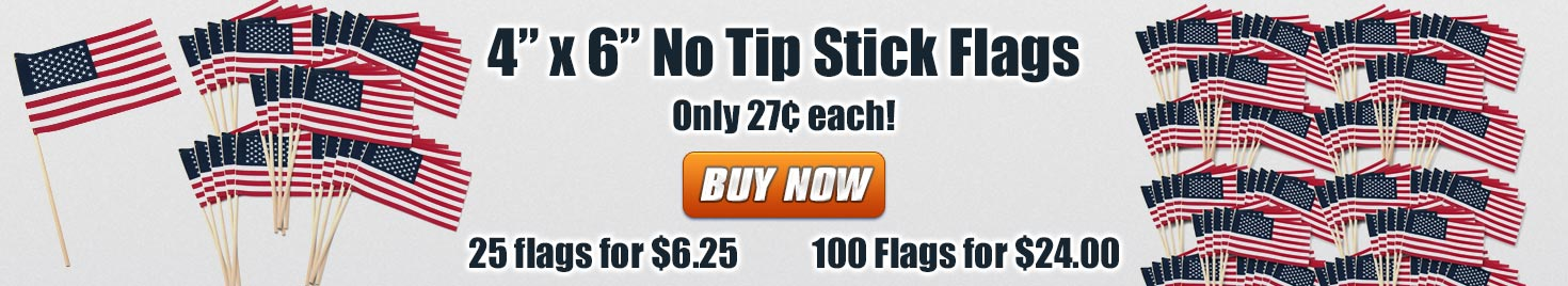 No tip USA stick flags