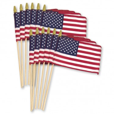 US Stick Flag 8in x 12in Standard Wood Stick with Spear Tip - 12PK