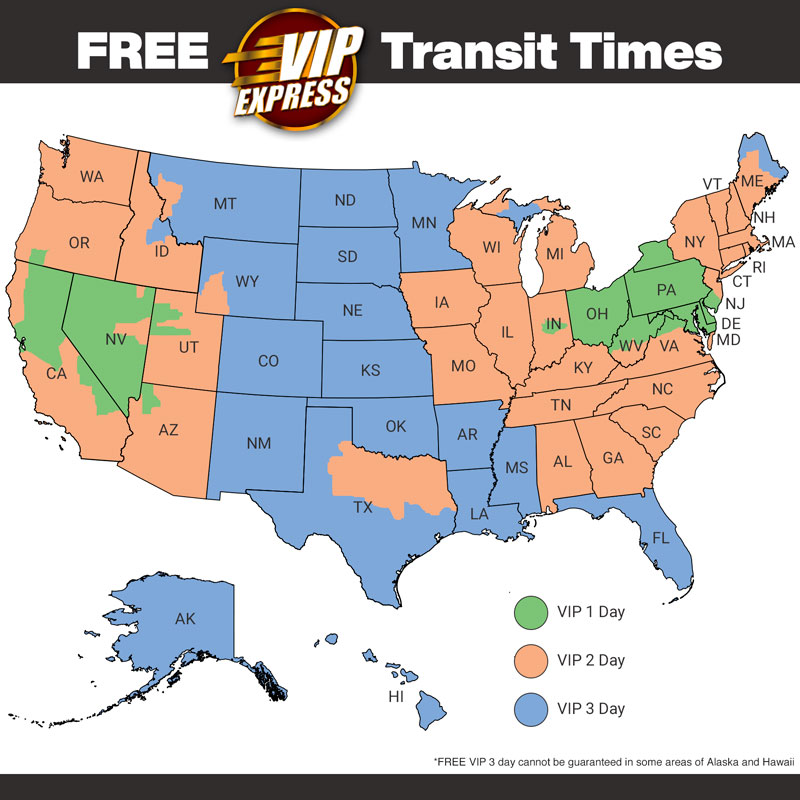 VIP Express Shipping Transit Map