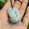 Hand Carved White Brown Nephrite Jade Crab Pendant / Necklace w/Certificate