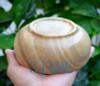 "5"" Natural Grainstone Flat Bowl /Hand Carved Large Wood Grain Stone Bowl"