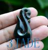 Nephrite Jade Manaia Fish Hook Pendant Necklace