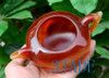 """6.25"""" Hand Carved Red Agate / Carnelian Teapot / Stone Tea Pot Carving"""