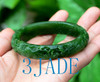 60mm Green Nephrite Jade Bangle Bracelet w/ Carved Bird Flower  w/ certificate