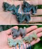 3pcs Natural Nephrite Jade Chinese Dragon Figurines Carvings Wholeslae