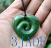 Jade Maori Koru Heart Pendant Necklace