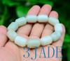 Celadon White Nephrite Jade Barrel Beads Bracelet