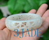 55.5mm carved white jade bangle
