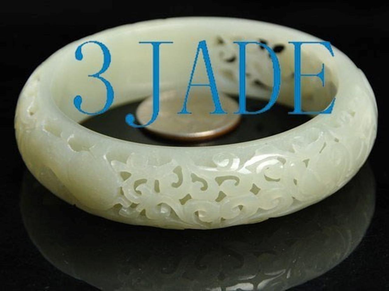 62mm Carved Natural Hetian Nephrite Jade Bangle Bracelet, w/ certificate