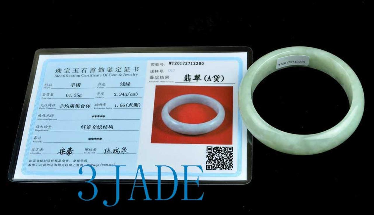 56mm-57mm A Grade Light Green Jadeite Jade Bangle Bracelet w/ Certificate