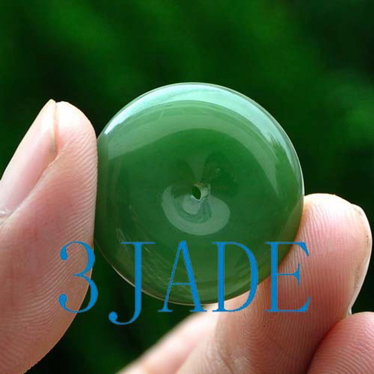 Natural Green Nephrite Jade Donut Pendant G026083