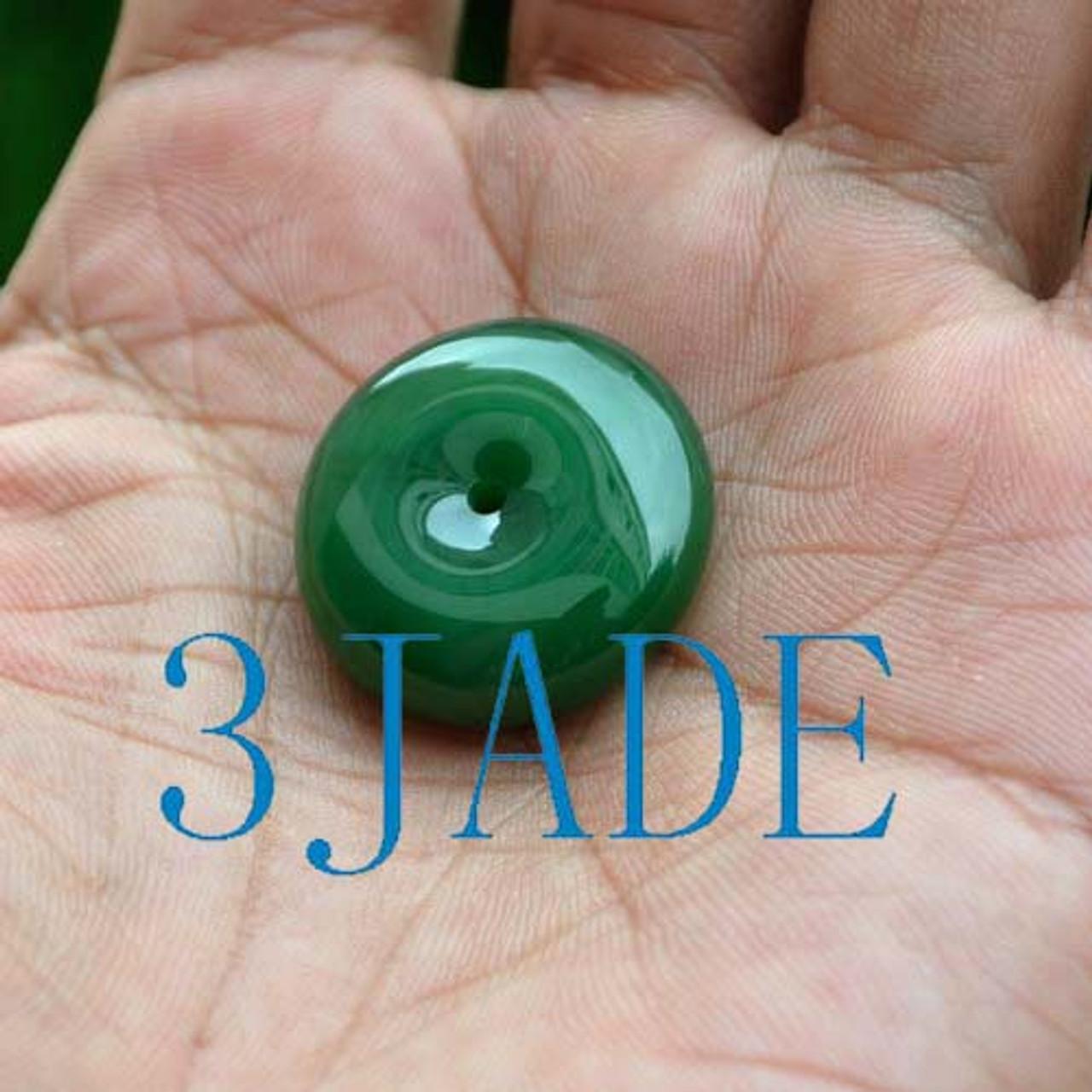 Natural Green Nephrite Jade Donut Pendant -G026084